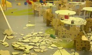 Опубликовано видео из кузбасского детсада, где через неделю после открытия рухнул потолок