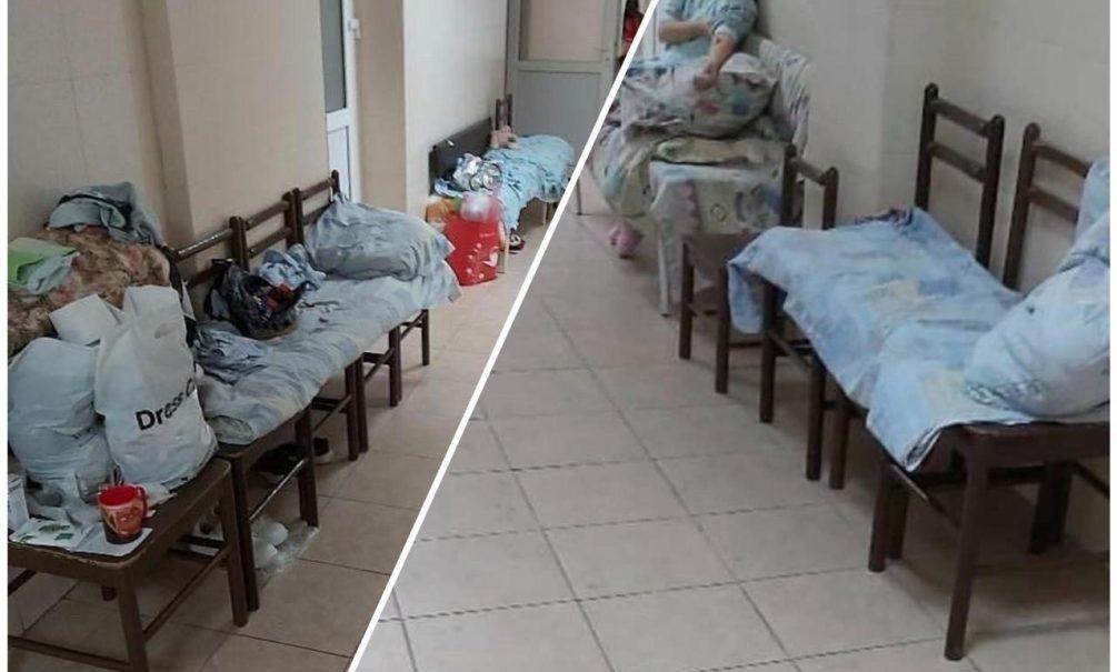 В Новороссийске пациенты детской больницы лежат под капельницами на стульях в коридоре