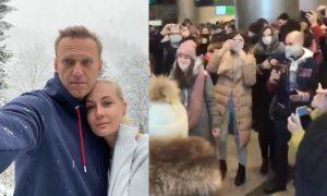 Навального с женой в аэропорту Внуково встречает толпа фанатов Ольги Бузовой