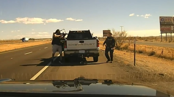 Убийство американского полицейского во время проверки машины показали по ТВ