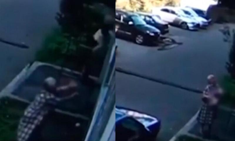 Чудесное спасение попало на видео: прохожая поймала малыша, выпавшего из окна
