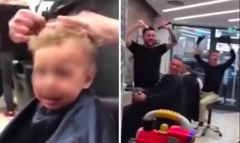 Первая в жизни стрижка напугала малыша, но парикмахеры нашли необычный выход и прославились в Сети