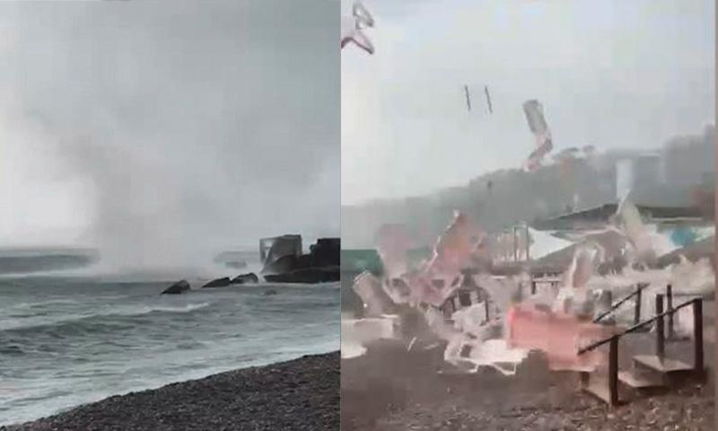 Смело весь пляж: смерч в Сочи попал на видео
